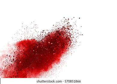 abstract red powder splatted background,Freeze motion of red powder exploding/throwing color powder,red glitter texture on white background