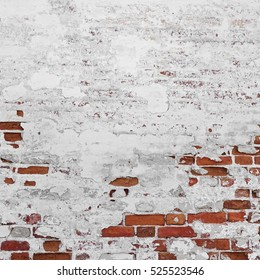 Abstract Red White Stonewall Urban Texture. Old Red Brick wall With Shabby Damaged White Plaster.  Painted Whitewashed Brick Wall Grungy Background. Stonework Square Frame Grunge Empty Wallpaper.