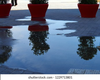 Abstract reflection of street pots urban city background image