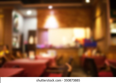 Abstract Restaurant at Bangkok,Thailand in blurred background