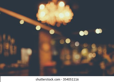 Abstract Restaurant at Bangkok,Thailand in blurred background in vintage tone