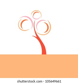 A abstract retro tree illustration with circles in pink and orange