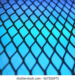 Abstract rhombus structure with shallow dof. Blue background with dark metal mesh. Technology concept.