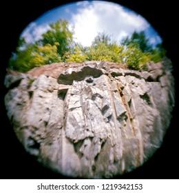 abstract rockface looking up