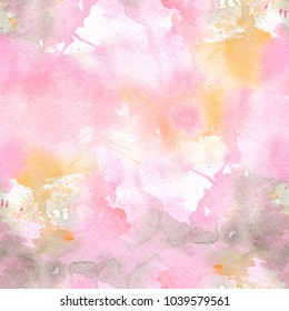 Abstract romantic watercolor seamless pattern with colorful washes of paint. Soft light tints of pink, yellow and green. Hand-painted texture for packaging, wedding, birthday, scrapbooking