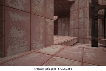 Abstract room interior of sheets rusted metal with black glass columns. Architectural background. 3D illustration and rendering