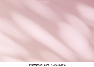 Abstract rose gold light bokeh of natural leaves shadow background of tree branch falling on white concrete wall texture, nature art on wall, pink rose gold shadow on light background