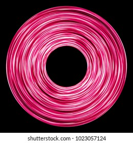 Abstract rotating long exposure pink round neon lines circle texture.