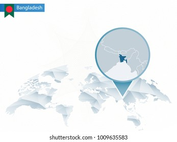 Abstract rounded World Map with pinned detailed Bangladesh map. Raster copy.