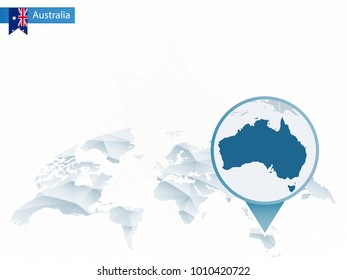 Abstract rounded World Map with pinned detailed Australia map. Raster copy.