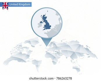 Abstract rounded World Map with pinned detailed United Kingdom map. Raster copy.