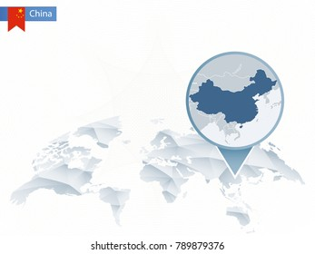 Abstract rounded World Map with pinned detailed China map. Raster copy.