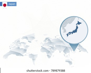 Abstract rounded World Map with pinned detailed Japan map. Raster copy.