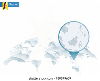 Abstract rounded World Map with pinned detailed Brunei map. Raster copy.