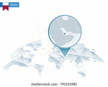 Abstract rounded World Map with pinned detailed Qatar map. Raster copy.