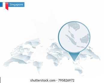 Abstract rounded World Map with pinned detailed Singapore map. Raster copy.