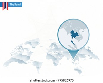 Abstract rounded World Map with pinned detailed Thailand map. Raster copy.