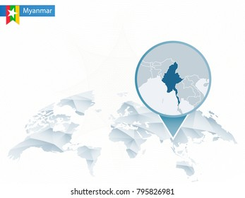 Abstract rounded World Map with pinned detailed Myanmar map. Raster copy.