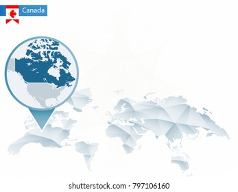 Abstract rounded World Map with pinned detailed Canada map. Raster copy.
