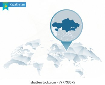 Abstract rounded World Map with pinned detailed Kazakhstan map. Raster copy.
