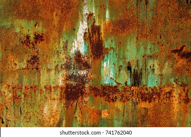 Abstract rusty metal texture, rusty metal background for design with copy space for text, image. Unprotected from atmospheric wet influences
