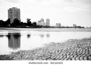 abstract sand wave on the beach,Hua hin province,Thailand , black and white color