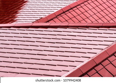 Abstract scale pattern of Red Roof. Roof tiles background. Red Color roof texture.