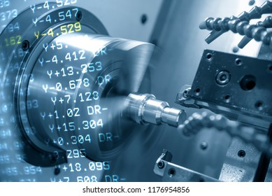 The abstract scene of CNC lathe machine or turning machine and the NC data  cutting the thread at the steel shaft.The threading process on the CNC lathe machine .