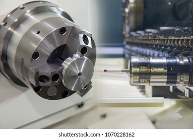 Abstract scene of the CNC turning or lathe machine cutting the metal part with the CMM probe.The CNC lathe processing quality control concept.