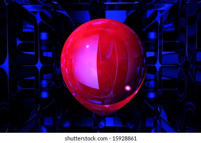 abstract scene of the red sphere