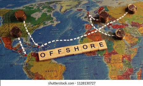 Abstract scheme showing financial flow from different countries to common known tax free zones/ zones with light tax burden. Offshore concept.