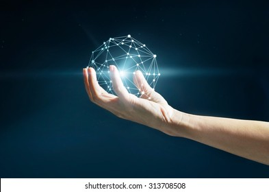 Abstract science, circle global network connection in hand on stars at night background