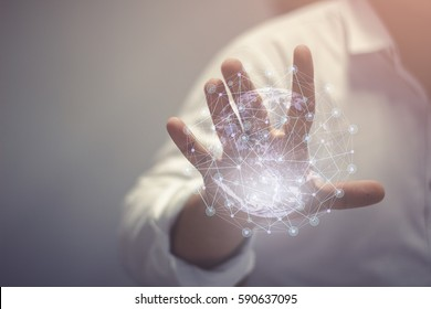Abstract science, circle global network connection in hands