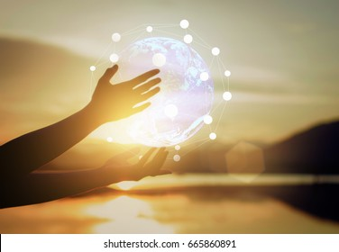 Abstract science, circle global network connection in hands on sunset background / soft focus picture / Vintage concept