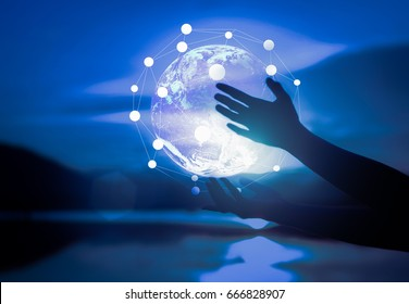 Abstract science, circle global network connection in hands on night sky  background / soft focus picture /  Blue tone concept