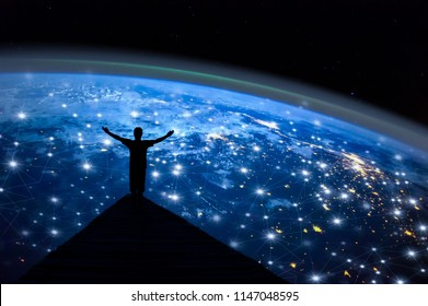 Abstract science,  global network connection on night earth background / soft focus picture / Blue tone concept / Borderless communication concept