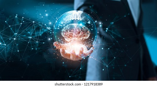 Abstract science. Networking, technology and innovation. Businessman holding brain in circle global network connection communication and data exchanges worldwide on modern interface background.