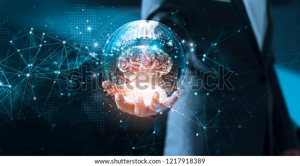 Abstract Science Networking Technology Innovation Businessman Science Stock Image 1217918389