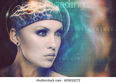 Abstract science and technology background with human face and graphs