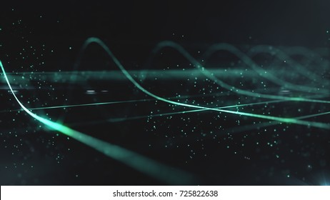 Abstract science technology concept background. digital wave of glowing particles and wireframe