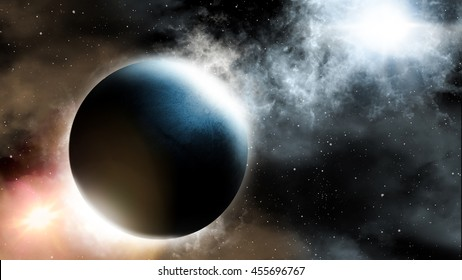 Abstract scientific background of Universe scene in outer space, 3D Illustration of Planet and Space