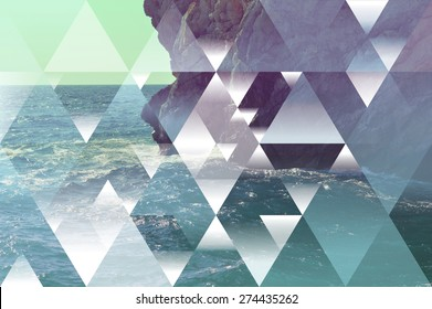 abstract sea geometric background with triangles, water waves and unfocused rocks