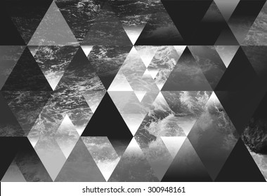 abstract sea geometric background with triangles, water waves. black and white