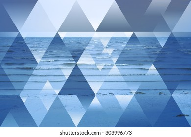 abstract sea geometric background with triangles, water waves. polygonal  backdrop