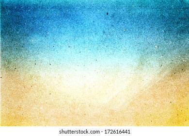 Abstract sea water  beach recycled paper texture, may use as background. Grunge texture with space for text or image background yellow sand and cyan blue colored.