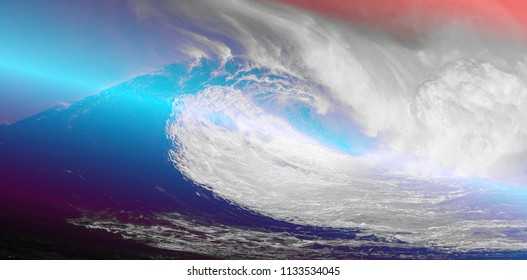 Abstract sea waves background. Pink and blue gradient.