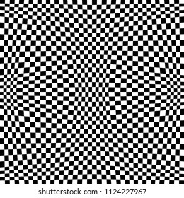 Abstract Seamless Black and White Geometric Pattern with Squares. Contrasty Optical Psychedelic Illusion. Chessboard Wicker Structural Texture. Raster Illustration
