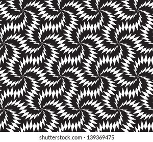 Abstract seamless black and white inverted pattern with stylized thorny six stars.
