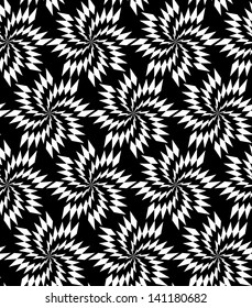 Abstract seamless black and white inverted pattern with thorny whirligigs. Easy to change the colors.