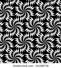 Abstract seamless black and white inverted thorny pattern in vanes. Easy to change the colors.